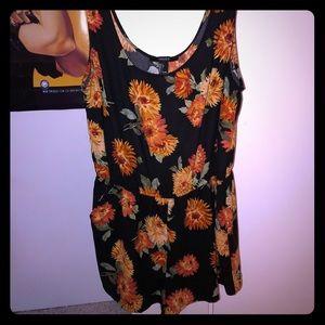 Black & orange floral romper